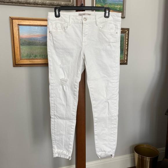 Zara White Distressed Skinny Jeans